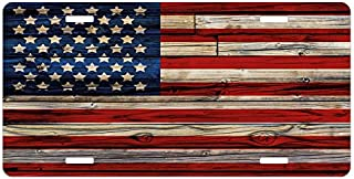 """Ambesonne 4th of July License Plate, Wooden Planks Painted as United States Flag Patriotic Country Style, High Gloss Aluminum Novelty Plate, 5.88"""" X 11.88"""", Red Beige Navy Blue"""