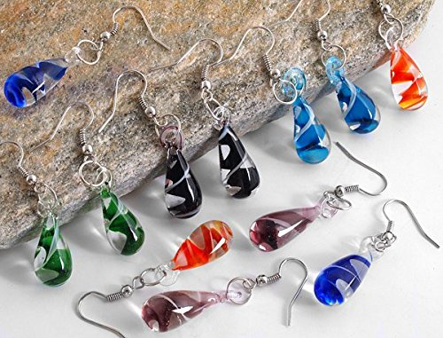 Ecloud Shop® 6 Paare Schöne Murano Lampwork Art und Weise Glas baumeln Ohrringe 19x10mm