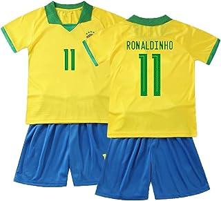 ロナウジーニョ(ロナウジーニョ)#11 フットボールジャージ大人/子供用トレーニングスーツ スポーツ半袖 (Color : Yellow-2, Size : Child-22)