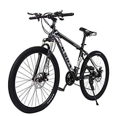 cobcob Road Bike, 26 inches Heavy-Duty Stabilizer Wheels Mountain Bike for Adult Bicycles Portable Urban Commuter Bicycle Full Suspension MTB Bikes 21 Speed Disc Brakes for Women, Men (Black)
