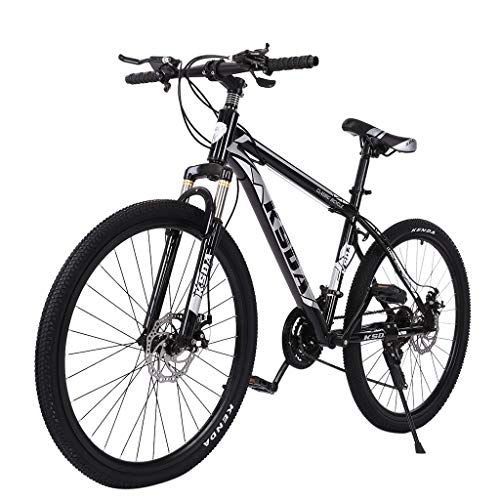Mountain Bike, Meengg Junior 26 inch 21 Speed Stone Road Bike for Adults Men and Women Bicycle Front Suspension Outdoor Fashion High Carbon Steel MTB Bikes Black