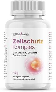 Effective Nature Zellschutz: KURKUMA & OPC, Mit Vitamin C, Lutein und Beta-Carotin, Vegan, 90 Kapseln