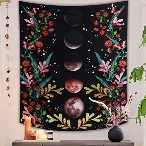 Wandteppich,Mond Garten Wandbehang Tapestry,Blumen und Mond Wandteppich Wandtuch Böhmischer Wall Hanging Flower Vine Wall Tapisserie,Wanddekoration für Wohnzimmer und Schlafzimmer.(M/130X150cm)