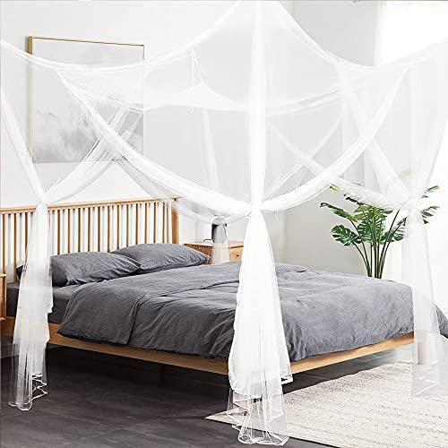 Toldo de 4 esquinas para cama de matrimonio, mosquitero grande, cortinas para dormitorio, se adapta a todas las cunas y camas para tamaño King, cama Queen, habitaciones de niños, cuna de bebé