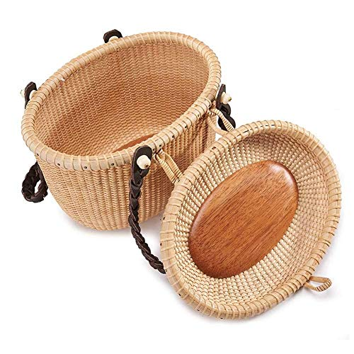 Great Price! ZLJ Picnic Backpack Traditional Handmade Wicker Oval Picnic Basket Shopping Storage Ham...