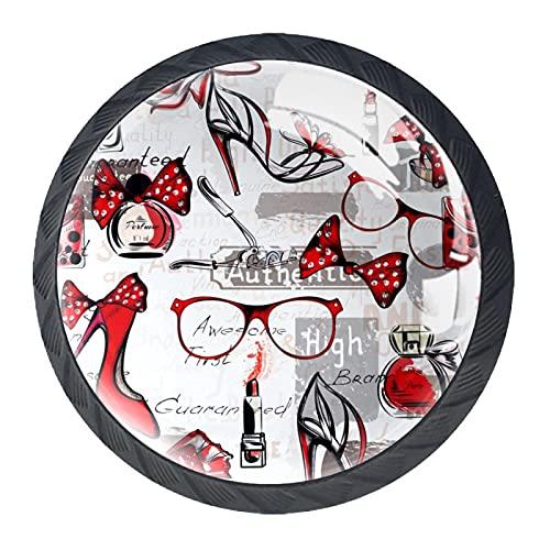 Tacones altos rojos, moderno minimalista impresión armario manija cajón manija puerta armario manija cuatro piezas traje