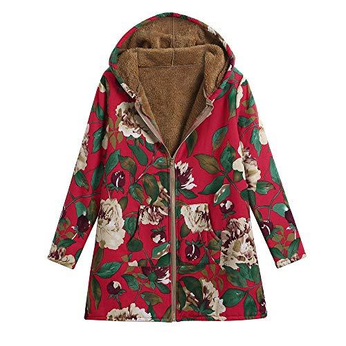 LIMITA Damen warme Outwear Vintage Blumendruck Hoodie mit Taschen Übergröße Mantel Steppjacke Damen Mantel Damen Jacke Mantel