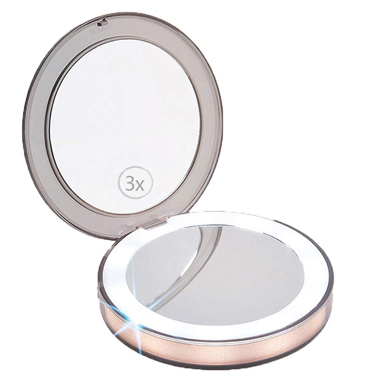 確率炭素定期的なMagic Hue 化粧鏡 化粧ミラー 携带ミラー LED付き 3倍拡大鏡付き 明るさ調節可能 120°回転 400mA USB充電 蓄電可能 手鏡 折り畳み式 外出 旅行用 通勤用 便利 手鏡 おしゃれ プレゼント