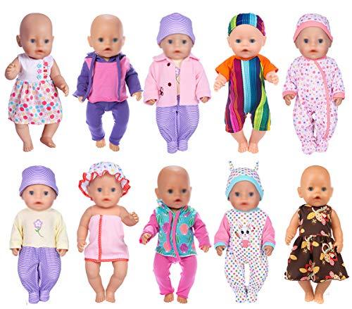 ebuddy 10 unidades. Los accesorios de ropa de muñeca incluyen pelele, vestido, pijama, traje y sombrero para muñecas recién nacidas de 43 cm.