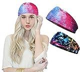 dressfan 2 Packung Schweißband Stirnband Sport Stirnbänder Sportstirnband Haarband,Feuchtigkeitsableitend Dehnbar Atmungsaktiv,Damen und Herren,Ideal zum Laufen Radfahren Tanzen Yoga Pilates,Lila