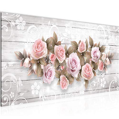 Wandbilder Blumen Rosen 1 Teilig Modern Vlies Leinwand Wohnzimmer Flur Holz Vintage Beige 022312b