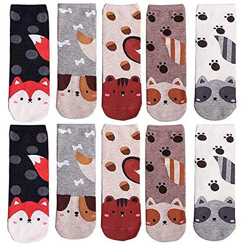 LANTING Damen Socken Lustige Tier Motivsocken Baumwolle Thermal Warm Bunte Socken Niedlich Karikatur Witzige Frauen Lässige Socken EU35-42 - 5 Pairs Cute