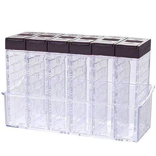XUBX Juego de 6 botes de especias, transparentes saleros y pimenteros para especias, Caja de especias de plástico, tarros de especias, almacenamiento de condimentos para sal, azúcar y pimiento