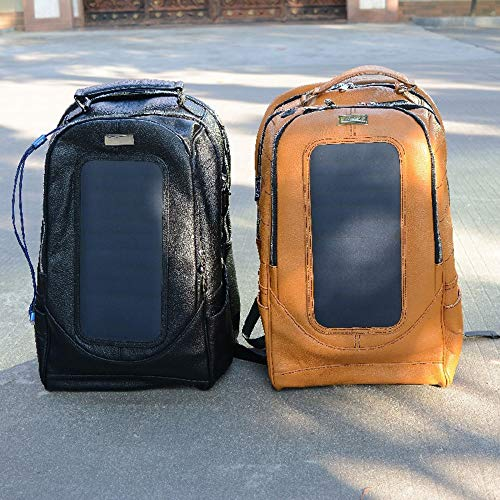 BDwantan Leather Solar USB Mobile Phone Charging Backpack Waterproof Backpack Outdoor Travel Bag (Color : Yellow)