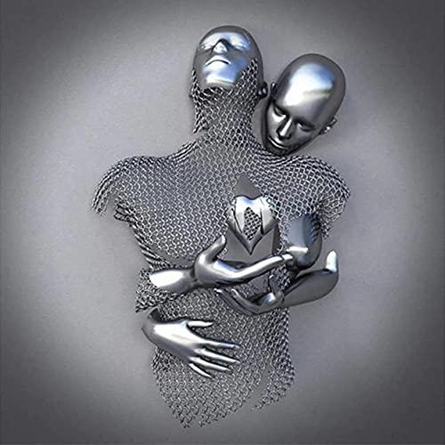 CZYSKY Love Heart 3D Effect Wall Art, Figura Abstracta de Metal, Escultura, Lienzo para Pintar, Cuadros Abstractos Modernos,...