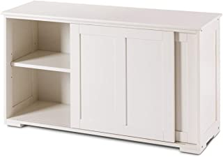 White Kitchen Storage Cabinet Pantry Sideboard Buffet Cupboard Large Sliding Door 1 Adjustable Storage Shelf Spacious Top Wooden Construction Space Saving Design Perfect For Dining Room Restaurant Use
