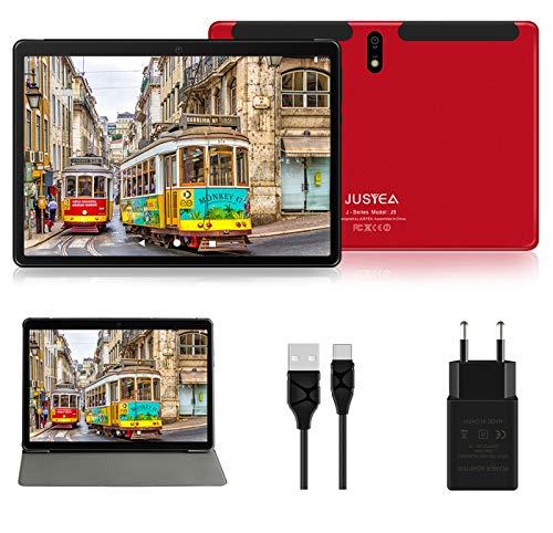 Tablet 10 Pulgadas Android 10.0 Tableta Ultra-Portátiles - RAM 4GB | 64GB Expandible (Certificación Google GMS) - JUSYEA - Batería de 8000mAh- WiFi—Cubierta - Rojo