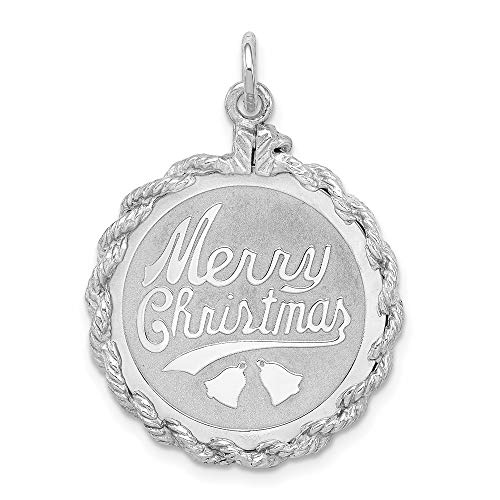 925 Sterling Silver Merry Christmas Disc Pendant Charm Necklace Holiday Fine Jewelry For Women Gifts For Her