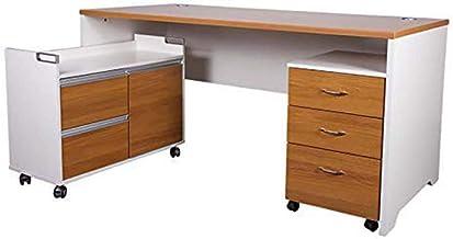Mahmayi Metal Zelda Contemporary Office Desk, ZHM246-16L, Light Walnut/White, H75 x W155 x D160 cm