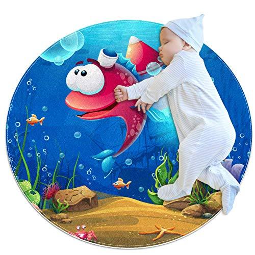 Cartoon Marine Life Tapis de jeu rond pour tapis de jeu pour bébé Tapis de salle de bain antidérapant doux pour les tout-petits 100cm