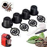 Rusaly 4PCs Filtros Cápsulas de Café Reutilizable para Nespresso Plsatic Cápsulas Recargables Reutilizable Más de 200 Veces (con 1 Cuchara y 1 Cepillo)