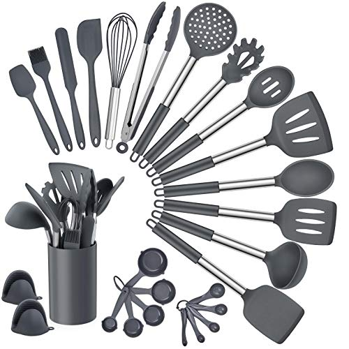 Homikit 27 Pieces Silicone Cooking Utensils Set with Holder, Kitchen Utensil Sets for Nonstick Cookware, Gray Kitchen Tools Spatula with Stainless Steel Handle, Heat Resistant