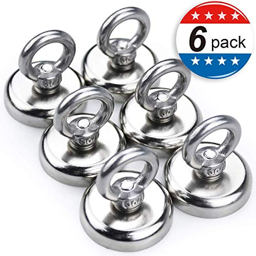 Super Strong Neodymium Fishing Magnets, 85 lbs(38.5 KG) Pulling Force Rare Earth Magnet with Countersunk Hole Eyebolt Diameter 1.26 inch(32 mm) for Retrieving in River and Magnetic Fishing - 6 Pack