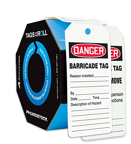 Accuform Signs TAR128 Tags by-The-Roll Barricade Status Tags, LegendDanger Barricade TAG, 6.25 Length x 3 Width x 0.010 Thickness, PF-Cardstock, Red/Black on White (Roll of 100)