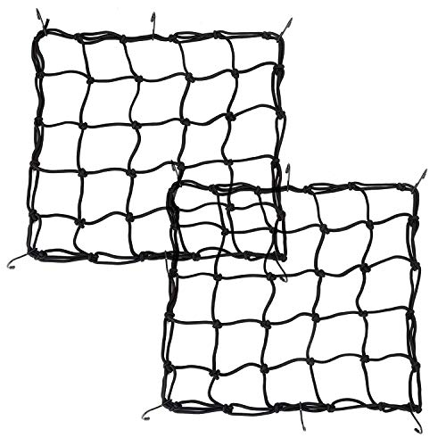 2 Pack High Elastic 15quot Cargo Net with 6 Adjustable Metal Hooks for Motorcycle ATV Super Strong Stretch HeavyDuty Cargo Net