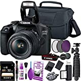 Canon EOS 2000D / Rebel T7 DSLR Camera and EF-S 18-55 mm f/3.5-5.6 is II Lens + 32GB Memory Card + Camera Bag + Cleaning Kit + Table Tripod + Filters - International Model