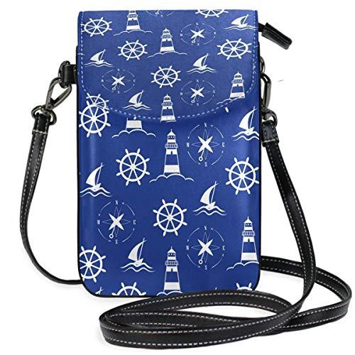 Handy Geldbörse Crossbody Sea Lighthouse Com-Pass Kleine Umhängetasche Handy Geldbörse Geldbörse für Frauen Mädchen