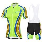 Traje Ciclismo Mujer Verano, Transpirable y elástico Maillot Ciclismo y Pantalon para MTB, Ropa Ciclismo para Bicicleta de Carretera, Verde, S