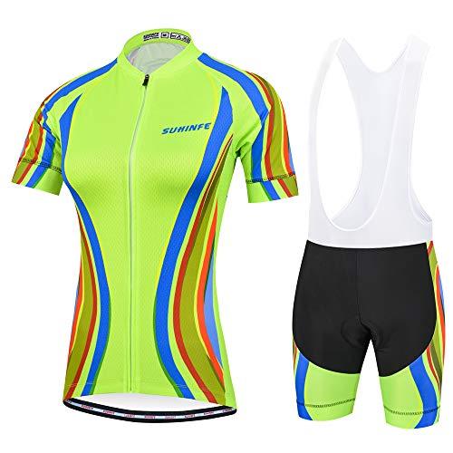 Traje Ciclismo Mujer Verano, Transpirable y elástico Maillot Ciclismo y Pantalon para MTB, Ropa Ciclismo para Bicicleta de Carretera (Verde, 2XL)