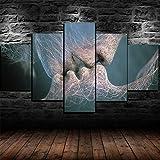 5 Papel pintado Amor Imposible Beso Resumen Moderno Impresión de 5 Piezas Impresión Artística Imagen Gráfica Decoracion de Pared