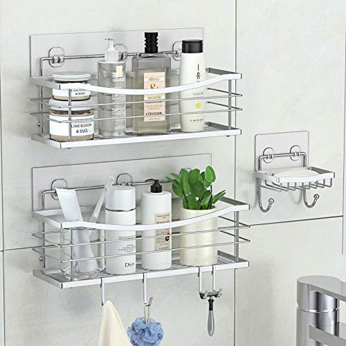 ODesign Adhesive Shower Caddy Basket Shelf with 4 Hooks for Shampoo Conditioner Sponge Razor Soap Dish Holder Kitchen Bathroom Organizer No Drilling Wall Mounted Stainless Steel Rustproof - 3 Pack