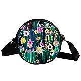 Bolso cruzado redondo pequeño para mujer, de moda, de lona, para mujer, con diseño de flores de cactus