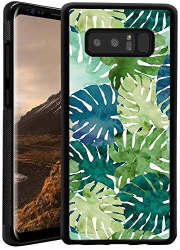 Samsung Galaxy Note 8 Phone Case, Tropical Leaves Black Anti-Scratch Lithe Shockproof Rubber Bumper Protective Case for Samsung Galaxy Note 8