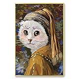 Cuadro En Lienzo Cat Van Gogh Modern para Sala de Estar Cuadros Decorativos y Carteles Arte de la Pared,60x90cm,Pintura sin Marco