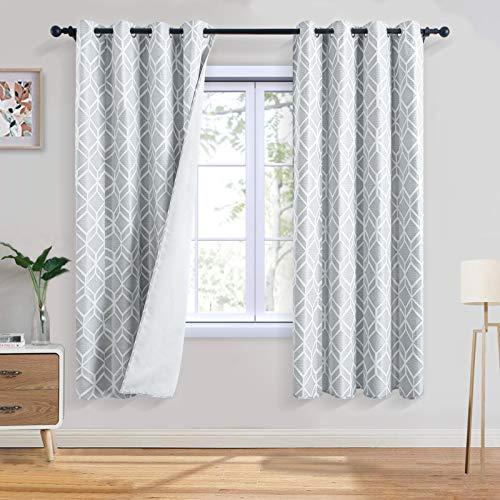 Topfinel Jacquard Room Darkening Curtains 63 Inch Length for Bedroom Living Room Trellis Pattern Grommet Sun Blocking Drapes, 2 Panels, Light Grey
