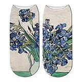 LWHRKSJC Calcetines cortos con patrón de pintura al óleo de Van Gogh impresos en 3D flores pastoral cielo estrellado arte divertido mujeres felices coloridos calcetines de tobillo bajo