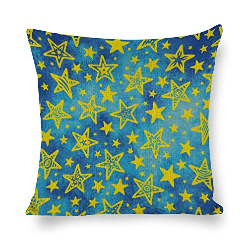 Tiukiu 20 X 20 Inch Cotton Linen Square Throw Pillow Cases Cushion Covers, Bed Sofa Couch Car Home Decor, Galaxy Zodiac Star
