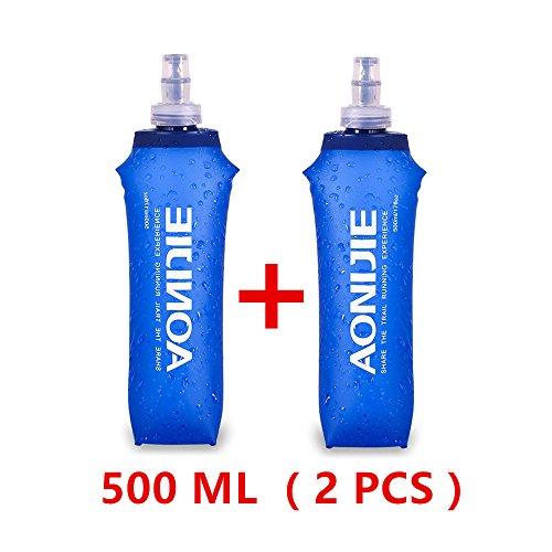 AONIJIE - Botella plegable para deporte, de poliuretano termoplástico sin bisfenol A, 2 unidades, 250 ml / 500 ml, 500ML