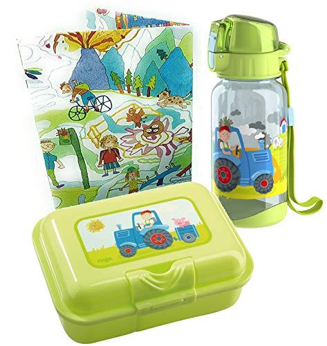 HABA Brotdose und Trinkflasche Traktor Geschenkset Kiga Schulstart Butterbrotdose Kinder Trennfach