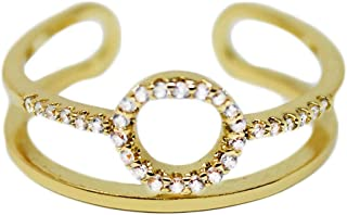 Gold Fashion Ring for Women – Micro Pave CZ Halo Ring with Adjustable Open Ends for Perfect Sizing