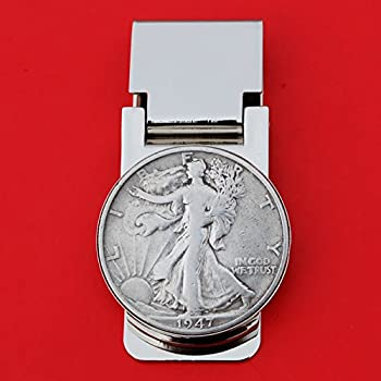 US 1947 Walking Liberty Half Dollar 90% Silver Coin Hinged Money Clip NEW - Silver Plated Coin Bezel