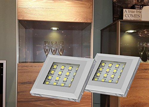 LED Unterbauleuchten Alu warmweiß 2er Set + Möbeltrafo #2115-2/4189-6W Schrankleuchten Möbelbeleuchtung