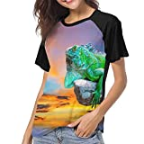 HJEMD Magliette Baseball Bluse Green Iguana Lizard On Colorful Sky Women Raglan Short Sleeve Casual Print T-Shirts Baseball Blouses