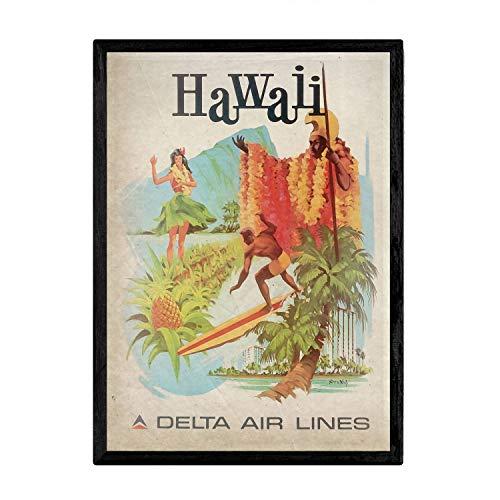 Nacnic Poster Vintage de Hawaii. Láminas para Decorar Interiores con imágenes Vintage y de Publicidad Antigua. Cuadros decoración Retro. Tamaño A3 con Marco