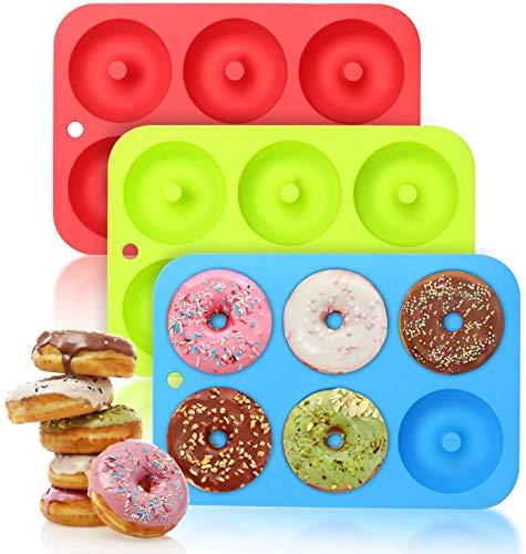 3 Stuck Silikon Donutform Donut Backform, Antihaft Donut Backblech für Kuchen Keks Bagels Muffins, Geeignet für Geschirrspüler, Backofen, Mikrowelle, Kühlschrank