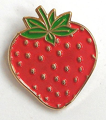 Mainly Metal Metall Emaille Pin Brosche Rot Strawberry Fruit